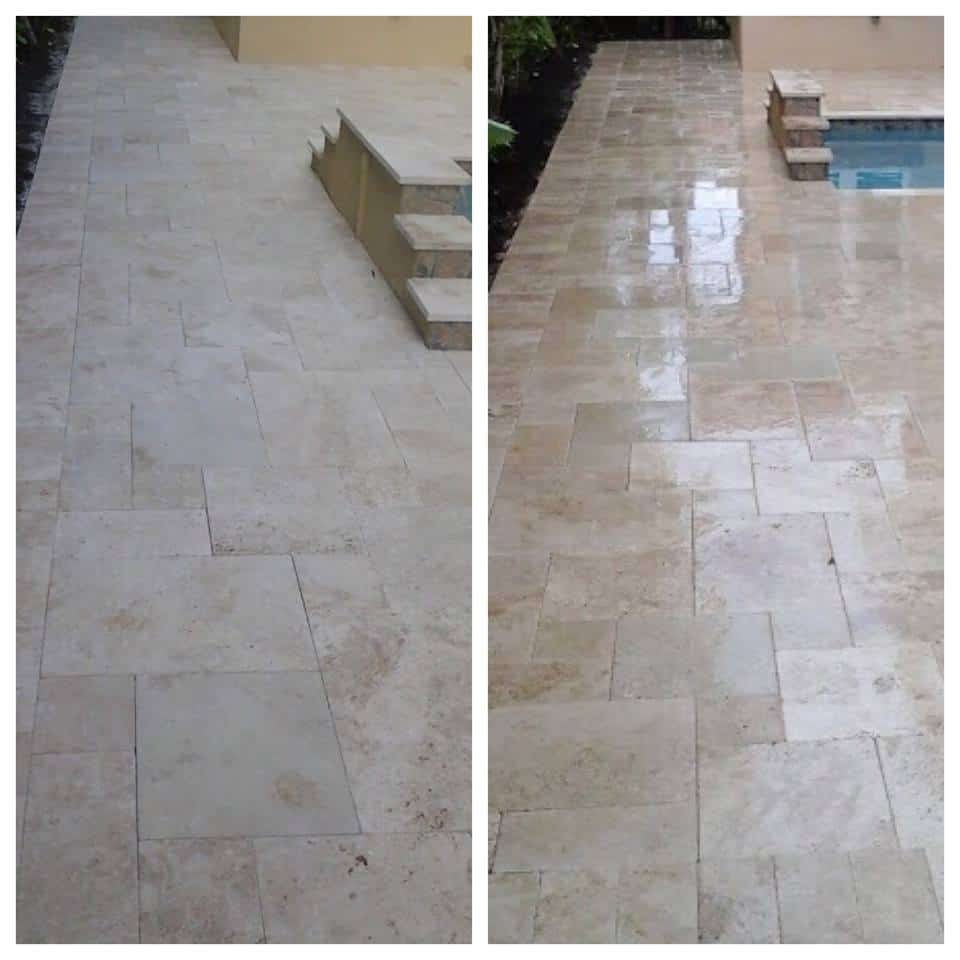 Travertine Driveway with Sealer