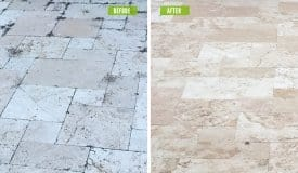 Travertine-Before-After, Fort Myers Pressure Washing, Naples Pressure Cleaning, Bonita Springs Pressure Cleaners, Cape Coral Pressure Cleaners, Fort Myers Paver Cleaning and Sealing, Naples Paver Cleaning and Sealing